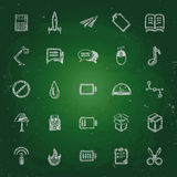 Icons in chalk on the blackboard sketches for the Royalty Free Stock Photography