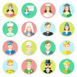 Icons characters of different professions telephone operator, businessman, nurse, scientist, cook, judge, priest. Stewardess, pilot, doctor, artist, artist Stock Photo