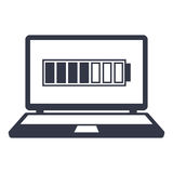 Icons charged battery monitor laptop Stock Image