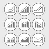 Icons with charts and graphs Royalty Free Stock Image