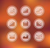 Icons with charts and graphs Royalty Free Stock Photos