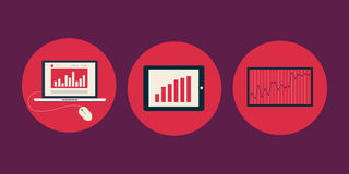 Icons of charts and graphs Royalty Free Stock Photo