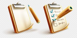 Icons of checklist things to do on clipboard with pencil vector illustration