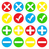 Icons - checkmarks, crosses, pluses and minuses Stock Photography