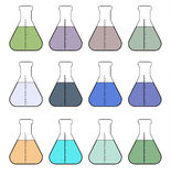 Icons chemical flasks. Raster. Stock Photo