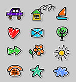 Icons children drawings. Children drawings icons web design Stock Images
