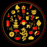 Icons of China decorated in circle Royalty Free Stock Image