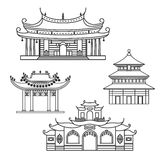 Icons Chinese House. Outlined icons four Chinese house Royalty Free Stock Photos