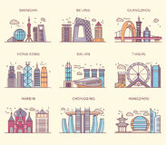 Icons Chinese Major Cities Flat Style Royalty Free Stock Photos