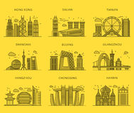 Icons Chinese Major Cities Flat Style Stock Photo