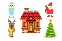 Icons of Christmas characters and simbols Stock Photography