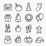 Icons christmas collection circle set new year. Vector icons christmas collection circle set new year Stock Photos