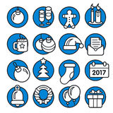 Icons christmas collection circle set new year. Vector icons christmas collection circle set new year Royalty Free Stock Photography