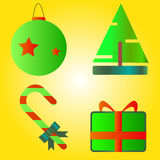 4 icons on the Christmas and New Year. On a yellow background Stock Photos