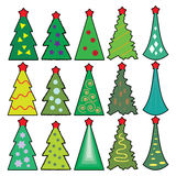 Icons of Christmas toys, dressed Christmas tree Stock Photos