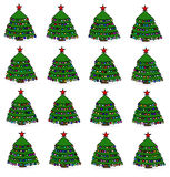 Icons Christmas trees. Raster. Stock Photography