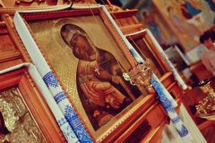 Icons in the church Stock Photos