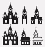 Icons of church buildings, vector  Stock Photos