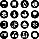 Icons in circles. This is a collection of different icons in circles Royalty Free Stock Photos