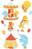 Icons with circus. Icons on a circus theme with a lion elephant monkey horse carousel in warm din Royalty Free Stock Images