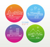 Icons city. Icons of the city and landscape. Icons Line on the color circle. city Icons can be used for posters, graphic production and design stock illustration
