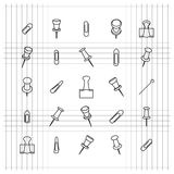 Icons clip of thin lines, vector illustration. Stock Image