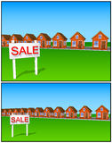 Icons and cliparts set of beautiful houses made of brick sale Royalty Free Stock Photography