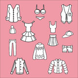 Icons of clothes Stock Photography