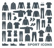 Icons of clothes for sports and workouts Royalty Free Stock Photos