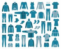 Icons of clothes for sports and workouts Royalty Free Stock Photo