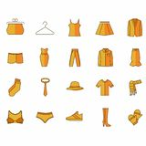Icons with clothes of yellow color vector illustration