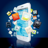 Icons Cloud around Touchscreen Smartphone. Vector Image Stock Photography