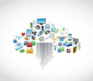 Icons cloud computing and arrow. illustration Royalty Free Stock Photos