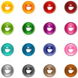 Icons Coffee. 16 colorful shiny buttons/icons for your application vector illustration