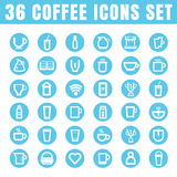 Icons coffee color thin white in the circle blue on white backgr Royalty Free Stock Images