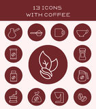 13 icons with coffee. Set of different icons with coffee and accessories for him Vector Illustration