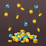 Icons coins, blue crystals, gemstones, gems, diamonds. vector illustration