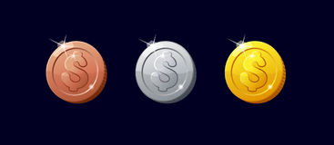 Icons coins for the game interface. Set of cartoon coins for web, game or application interface. Modern vector illustration game art. Coins dollar. Silver Stock Images