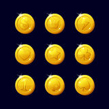 Icons coins for the game interface. Set of different cartoon coins for web, game or application interface. Modern vector illustration game art. Coins dollar Stock Photo