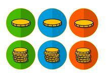 Icons with coins stock images