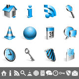 Icons collection. Set of 12 blue and silver icons Stock Image