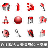 Icons collection. Set of 12 red and silver icons Royalty Free Stock Photo