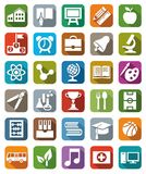 Icons colored education. Royalty Free Stock Images