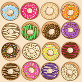 Icons of colorful donuts Stock Photo
