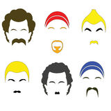 Icons colorful hairstyles. Raster Stock Image