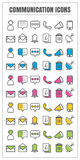 Icons communication color blck blue pink Yellow green vector on Royalty Free Stock Photography