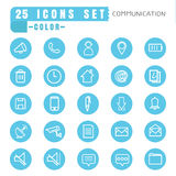 Icons communication color thin white in the circle blue on white Royalty Free Stock Photography