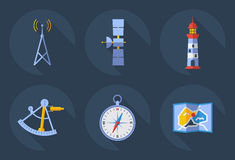 Icons of Communications. Icons of communication such as Radio Towers, Satellite GPS, Lighthouse, Map, Compass and sextant. Flat Vector Illustrations royalty free illustration