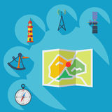 Icons of Communications. Icons of communication such as Radio Towers, Satellite GPS, Lighthouse, Map, Compass and sextant. Flat Vector Illustrations Stock Photography