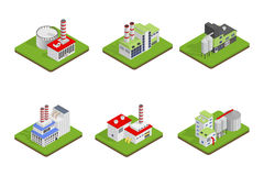 Icons and compositions of industrial building,  constructions, subjects isometric view, 3D. Stock Photography